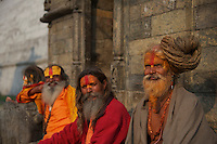 Sadus at Pashupatinath Cremation and Temple Area in Kathmadu, Nepal