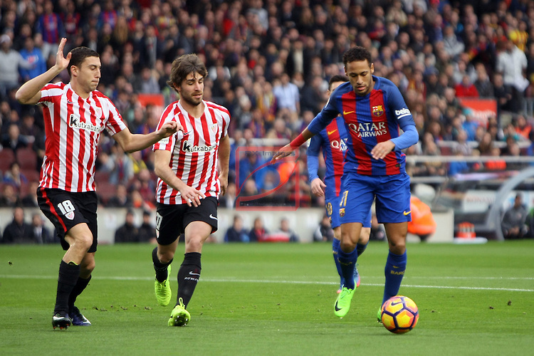 League Santander 2016/2017. Game: 21.<br /> FC Barcelona vs Athletic Club: 3-0.<br /> De Marcos, Yeray &amp; Neymar Jr.