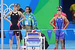 Satomi Suzuki, Rikako Ikee, Natsumi Sakai, Miki Uchida (JPN), <br /> AUGUST 12, 2016 - Swimming : <br /> Women's 4x100m Medley Relay Heat <br /> at Olympic Aquatics Stadium <br /> during the Rio 2016 Olympic Games in Rio de Janeiro, Brazil. <br /> (Photo by Yohei Osada/AFLO SPORT)