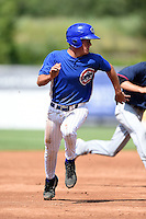 Cameron Comer (30) of Olentangy Liberty High School in Powell, Ohio playing for the Chicago Cubs scout team during the East Coast Pro Showcase on July 31, 2014 at NBT Bank Stadium in Syracuse, New York.  (Mike Janes/Four Seam Images)