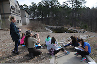 NWA Democrat-Gazette/FLIP PUTTHOFF <br /> SPRING BREAK BIRDS<br /> Caitlin Mitchell, college intern (from left) and Rebekah Penny, interpretive naturalist at Hobbs State Park-Conservation Area, help students draw and color birds seen feeders Wednesday March 23, 2016 during Spring Break Day Camp at the park. Students take part in a variety of nature activities with guidance from Caitlin Mitchell, college intern (right) and Rebekah Penny, park interpreter. The park also hosted dozens of students from Camp War Eagle on Wednesday who did trail work on the Dutton Hollow Loop of the park's multiuse trail for hikers, horse-back riders and mountain bikers.