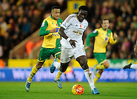 Bafetimbi Gomis of Swansea City and Martin Olsson of Norwich City during the Barclays Premier League match between Norwich City and Swansea City played at Carrow Road, Norwich on November 7th 2015