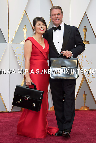 26.02.2017; Hollywood, USA: PWC BLUNDER OSCAR AWARDS - MARTHA RUIZ AND BRIAN CULLINAN OF PWC<br /> For the first time in the 88-year history of the Oscars the wrong picture was announced as the winner of the Best Picture Award. Instead of &quot;Moonlight&quot; being announced as the winner, La LA Land was declared the winner by presenter Faye Dunaway.<br /> It appears the fault was that of the accountants Price Waterhouse Coopers whose representatives Martha Ruiz and Brian Cullinan are the onle people who know the results of the winners prior to the event.<br /> In a statement issued by the PWC they have apologised for their error.<br /> Pictures Shows: The young actor from &quot;Moonlight&quot; standing beside Warren Beatty is in a complete state of astonishment at the blunder that occured.<br /> Mandatory Photo Credit: &copy;AMPAS/NEWSPIX INTERNATIONAL<br /> <br /> IMMEDIATE CONFIRMATION OF USAGE REQUIRED:<br /> Newspix International, 31 Chinnery Hill, Bishop's Stortford, ENGLAND CM23 3PS<br /> Tel:+441279 324672  ; Fax: +441279656877<br /> Mobile:  07775681153<br /> e-mail: info@newspixinternational.co.uk<br /> Usage Implies Acceptance of Our Terms &amp; Conditions<br /> Please refer to usage terms. All Fees Payable To Newspix International