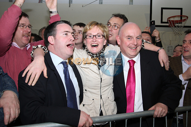 Damien English, Mairead McGuinness and Ray Butler celebrating at the 2011 Meath West Count in Trim GAA Grounds...(Photo credit should read Jenny Matthews/www.newsfile.ie)....This Picture has been sent you under the conditions enclosed by:.Newsfile Ltd..The Studio,.Millmount Abbey,.Drogheda,.Co Meath..Ireland..Tel: +353(0)41-9871240.Fax: +353(0)41-9871260.GSM: +353(0)86-2500958.email: pictures@newsfile.ie.www.newsfile.ie.