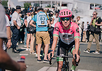 (un)lucky number #13 Lawson Craddock (USA/Education First-Drapac) crossing the finish line after riding the whole stage with a broken collarbone (from his crash the previous day) &amp; a stiched eye (&amp; shiner)<br /> <br /> Stage 2: Mouilleron-Saint-Germain &gt; La Roche-sur-Yon (183km)<br /> <br /> Le Grand D&eacute;part 2018<br /> 105th Tour de France 2018<br /> &copy;kramon