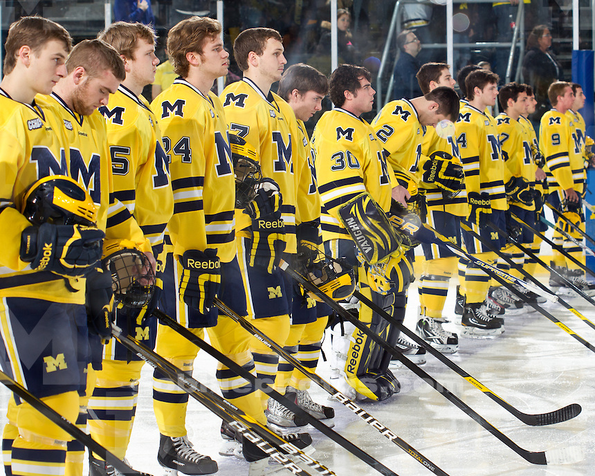 The University of Michigan ice hockey team tied Lake Superior Lake University, 2-2, at Yost Ice Arena in Ann Arbor, Mich., on January 7, 2012.