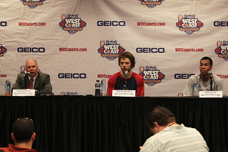 March 6, 2011; Las Vegas, NV, USA;  St. Mary's Gaels head coach Randy Bennett (left), guard Matthew Dellavedova (center), and guard Stephen Holt (right) during the WCC Basketball Championships at Orleans Arena.