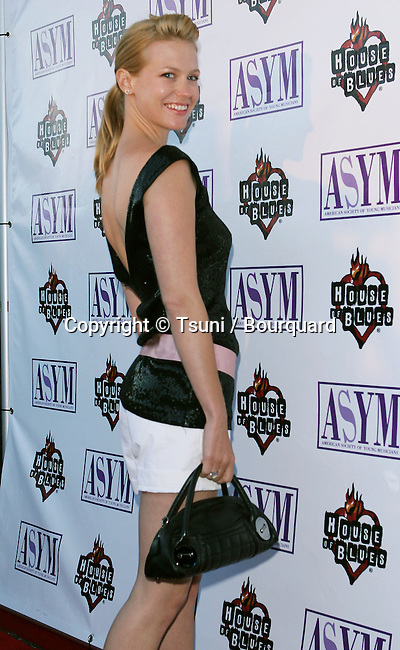 January Jones arriving at 13th Annual American Society Of Young Musicians Spring Benefit Concert and Awards Show at the House Of Blues in Los Angeles June 9, 2005.