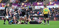 Ospreys' Rhys Webb passes the ball away from a ruck.<br /> <br /> Photographer Dan Minto/CameraSport<br /> <br /> Guinness Pro14 Round 13 - Ospreys v Cardiff Blues - Saturday 6th January 2018 - Liberty Stadium - Swansea<br /> <br /> World Copyright &copy; 2018 CameraSport. All rights reserved. 43 Linden Ave. Countesthorpe. Leicester. England. LE8 5PG - Tel: +44 (0) 116 277 4147 - admin@camerasport.com - www.camerasport.com