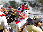 Palos Verdes, CA 11/03/17 - Will Boss (Palos Verdes #3) and unidentified Peninsula player(s) in action during the Palos Verdes vs Palos Verdes Peninsula CIF Varsity football game at Peninsula High School for the battle of the hill.