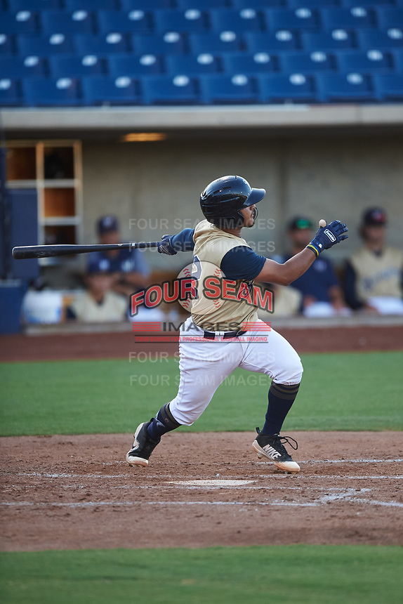 AZL Brewers Gold Andres Melendez (22) at bat during an Arizona League game against the AZL Brewers Blue on July 13, 2019 at American Family Fields of Phoenix in Phoenix, Arizona. The AZL Brewers Blue defeated the AZL Brewers Gold 6-0. (Zachary Lucy/Four Seam Images)