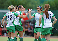 23 June 2013; Michelle Harvey, Ireland, celebrates after scoring her side's first goal. Electric Ireland Senior Women's International Friendly, Ireland v Canada, Belfield, Dublin. Picture credit: Tommy Grealy/Actionshots.ie