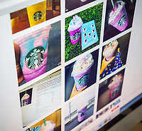 The pages of Instagram on Thursday, April 20, 2017 are filled with photos of the limited edition Starbucks Unicorn Frappuccino drink. The drink, a colorful blend of pink powder, mango syrup and sour blue drizzle in a Frappuccino. The color and taste change as you swirl it and the marketing makes it ready-made for social media. (© Richard B. Levine)