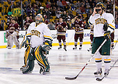 Jeff Hill (Vermont - 1), Jack Downing (Vermont - 21) - The Boston College Eagles defeated the University of Vermont Catamounts 4-0 in the Hockey East championship game on Saturday, March 22, 2008, at TD BankNorth Garden in Boston, Massachusetts.