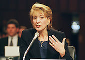 """Carly Fiorina, President and CEO; Hewlett-Packard Company, testifies before the United States Congress Joint Economic Committee on """"Removing Barriers to the New Economy"""" in Washington, DC on Wednesday, June 7, 2000..Credit: Ron Sachs / CNP"""