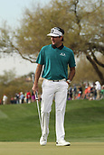 January 31st 2019, Scotsdale, Arizona, USA; Bubba Watson prepares to putt on the 9th green during the first round of the Waste Management Phoenix Open