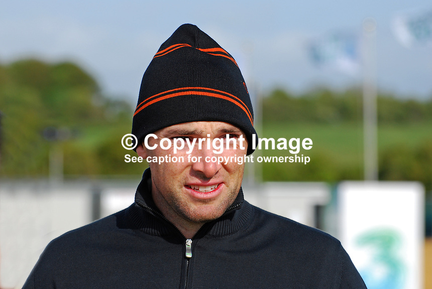 Oliver Wilson, professional golfer, England, UK, 200905132299..Taken at the Irish Open Pro-Am Day, Wednesday 13 May 2009, at Baltray. Like most  participants he was dressed for warmth because of the chill easterly breeze coming off the Irish Sea. ..Copyright Image from Victor Patterson, 54 Dorchester Park, Belfast, UK, BT9 6RJ..Tel: +44 28 9066 1296.Mob: +44 7802 353836.Voicemail +44 20 8816 7153.Skype: victorpattersonbelfast.Email: victorpatterson@mac.com.Email: victorpatterson@ireland.com (back-up)..IMPORTANT: If you wish to use this image or any other of my images please go to www.victorpatterson.com and click on the Terms & Conditions. Then contact me by email or phone with the reference number(s) of the image(s) concerned.