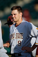 Michael Benjamin #9 of the Arizona State Sun Devils during a game against the USC Trojans at Dedeaux Field on April 12, 2013 in Los Angeles, California. USC defeated Arizona State, 5-0. (Larry Goren/Four Seam Images)