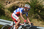 Polka Dot Jersey Luis Angel Mate (ESP) Cofidis climbs Sierra de la Alfaguara during Stage 4 of the La Vuelta 2018, running 162km from Velez-Malaga to Alfacar, Sierra de la Alfaguara, Andalucia, Spain. 28th August 2018.<br /> Picture: Colin Flockton   Cyclefile<br /> <br /> <br /> All photos usage must carry mandatory copyright credit (&copy; Cyclefile   Colin Flockton)