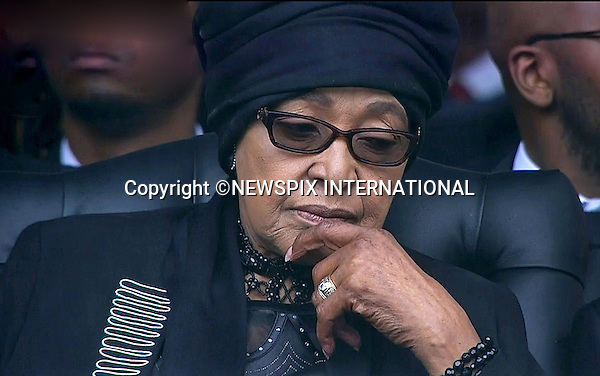 WINNIE MANDELA<br /> NELSON MANDELA MEMORIAL<br /> The nation mourns Nelson Rolihlahla Mandela Memorial Service, FNB Stadium, Johannesburg, South Africa<br /> Mandatory Credit Photo: &copy;NEWSPIX INTERNATIONAL<br /> <br /> **ALL FEES PAYABLE TO: &quot;NEWSPIX INTERNATIONAL&quot;**<br /> <br /> IMMEDIATE CONFIRMATION OF USAGE REQUIRED:<br /> Newspix International, 31 Chinnery Hill, Bishop's Stortford, ENGLAND CM23 3PS<br /> Tel:+441279 324672  ; Fax: +441279656877<br /> Mobile:  07775681153<br /> e-mail: info@newspixinternational.co.uk