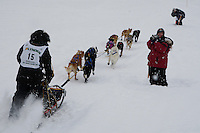 Shameka Nelson of Anchor Point leaves the start line of the 2009 Junior Iditarod on Knik Lake on Saturday Februrary 28, 2009.