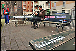 Turismo in Barriera # 3, passeggiata alla scoperta di insoliti punti di vista in Barriera di Milano. Progetto della associazione ONEOFF nell'ambito di 'Cosa succede in Barriera' con la partecipazione di Luca Morino. Qui l'intervento del writer Opiemme sulle panchine dai giardini di via Spontini angolo Corso Giulio Cesare. Apr 2013