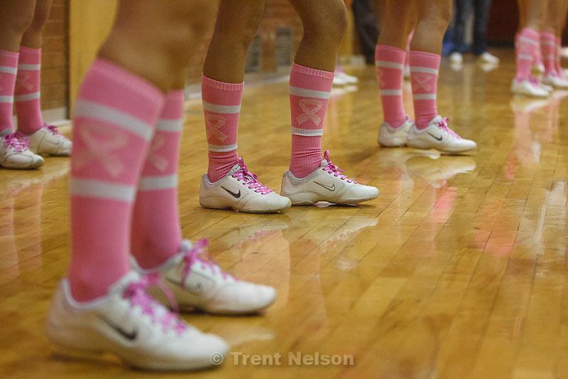 Trent Nelson  |  The Salt Lake Tribune.Highland cheerleaders' socks at Highland vs. Riverton High School basketball in Salt Lake City, Utah, Friday, December 2, 2011.