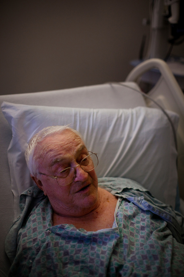Los Angeles, California, May 16, 2012 - Patient Robert Noonan who underwent a Transcatheter  Aortic Valve Replacement (TAVR) under the direction of Raj Makkar, MD, Director, Interventional Cardiology at Cedar-Sinai Heart Institute recovering in his room after his procedure. .
