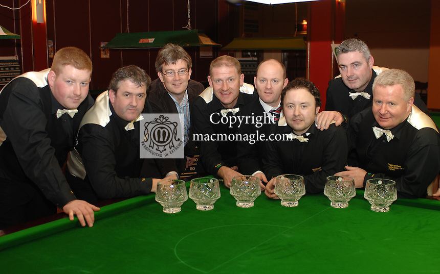 The Roadstone Clondalkin that lost the  final of the All Ireland Club Snooker Championship at the INEC Killarney on Sunday. From left are George Tierney, Noel Blake,  Patrick O'Donoghue, Gleneagle Hotel and INEC Killarney, Stephen Merrigan, Captain,  Colin McHugh, Ladbrokes, sponsor,  Keith Sheldreck, Eddie Ingle and Paul Smith.<br />Picture: MacMonagle, Killarney