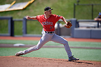 Batavia Muckdogs pitcher Joey Steele (43) during a NY-Penn League game against the West Virginia Black Bears on August 29, 2019 at Monongalia County Ballpark in Morgantown, New York.  West Virginia defeated Batavia 5-4 in ten innings.  (Mike Janes/Four Seam Images)