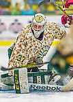 25 November 2014: University of Vermont Catamount Goaltender Brody Hoffman, a Junior from Wilkie, Saskatchewan, in first period action against the University of Massachusetts Minutemen at Gutterson Fieldhouse in Burlington, Vermont. The Cats defeated the Minutemen 3-1 to sweep the 2-game, home-and-away Hockey East Series. The 12th ranked Catamounts wore their camouflage uniforms for the evening to honor the US military. Mandatory Credit: Ed Wolfstein Photo *** RAW (NEF) Image File Available ***