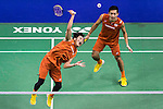 Takeshi Kamura and Keigo Sonoda of Japan compete against Solgyu Choi and Sung Hyun Ko of South Korea during the Men's Doubles' Quarter-final match of the YONEX-SUNRISE Hong Kong Open Badminton Championships 2016 at the Hong Kong Coliseum on 25 November 2016 in Hong Kong, China. Photo by Marcio Rodrigo Machado / Power Sport Images
