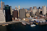 Aerial views views South Street Seaport on eastside of Manhattan.