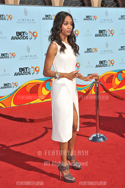 Zoe Saldana at the 2009 BET Awards (Black Entertainment Television) at the Shrine Auditorium..June 28, 2009  Los Angeles, CA.Picture: Paul Smith / Featureflash