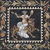 30 x 30 inch Bacchus and Tiger Roman Africa Mosaic in hand chopped tumbled Nero Marquina, Verde Luna, Giallo Reale, Renaissance Bronze, Breccia Pernice, Rosa Verona, Rosa Pearl, Travertine Noce, Botticino, Emperador Dark