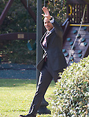 United States President Barack Obama waves to supporters as he departs the White House in Washington, DC to make campaign stops in Fayetteville and Charlotte, North Carolina for Democratic presidential candidate Hillary Clinton on Friday, November 4, 2016.  He will return late tonight.<br /> Credit: Ron Sachs / CNP