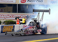 Oct 4, 2013; Mohnton, PA, USA; NHRA top fuel dragster driver Bob Vandergriff Jr during qualifying for the Auto Plus Nationals at Maple Grove Raceway. Mandatory Credit: Mark J. Rebilas-