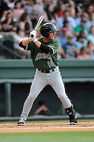 Second baseman Ryan Jones (14) of the Augusta GreenJackets in a game against the Greenville Drive on Thursday, June 11, 2015, at Fluor Field at the West End in Greenville, South Carolina. Greenville won, 10-1. (Tom Priddy/Four Seam Images)