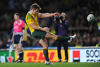 Bernard Foley of Australia launches the ball into the stands to secure their place in the Final at the end of the Semi Final of the Rugby World Cup 2015 between Argentina and Australia - 25/10/2015 - Twickenham Stadium, London<br /> Mandatory Credit: Rob Munro/Stewart Communications