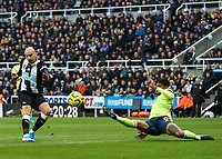 9th November 2019; St James Park, Newcastle, Tyne and Wear, England; English Premier League Football, Newcastle United versus AFC Bournemouth;  Jonjo Shelvey of Newcastle United shoots over the bar with Philip Billing of AFC Bournemouth challenging -Strictly Editorial Use Only. No use with unauthorized audio, video, data, fixture lists, club/league logos or 'live' services. Online in-match use limited to 120 images, no video emulation. No use in betting, games or single club/league/player publications