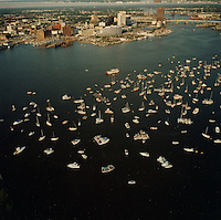 "1991 June ..Redevelopment.Downtown South (R-9)..Harborfest Aerials from helicopter.Low angle from Portsmouth.2 1/4""  color negs...NEG#.NRHA#.06/91  (REDEV  :DT  Sth3:2  :15  :1-F9)."