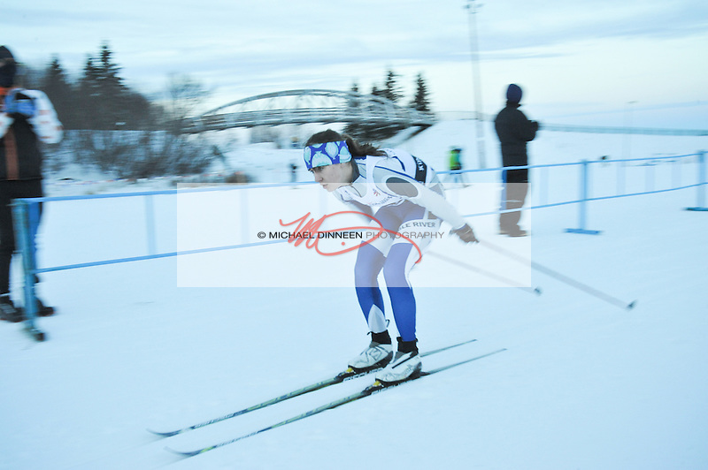 Eagle River's Annie Connelly  double-poles away from the start at the Chugiak Stampede Saturday, January 16th, 2016.  Connelly led the Eaglle River girls with a time of 30:31.9, 20th overall at the meet.  Photo for the Star by  Michael Dinneen