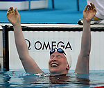 Chelsey Gotell of Antigonish, N.S. celebrates her win in women's 100 metre individual medley at the swimming finals at the Paralympic Games in Beijing, Friday, Sept., 12, 2008.    Photo by Mike Ridewood/CPC