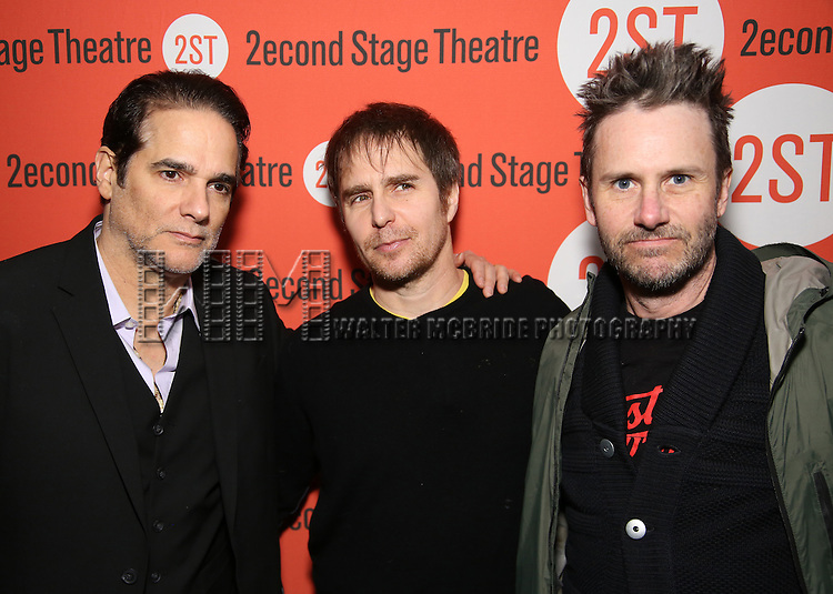 Yul Vazquez, Sam Rockwell and  Josh Hamilton attend the Off-Broadway Opening Night performance of 'Man From Nebraska' at the Second StageTheatre on February 15, 2017 in New York City.