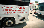 Busses let off their passengers at stops like this one to eat and stretch their legs. Passengers from all over the country load the busses each day headed to Mexico.