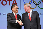 (L-R)  Akio Toyoda (President and CEO of Toyota Motor Corporation), Thomas Bach (President of the International Olympic Committee) appear at a ceremony on MARCH 13, 2015 in Tokyo, Japan to announce Toyota's sponsorship of the Olympic movement. Japanese auto maker Toyota signed up to become a top level Official Worldwide Olympic Partner. (Photo by Yohei Osada/AFLO SPORT) [1156]