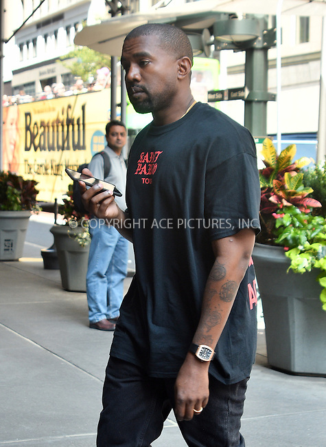 www.acepixs.com<br /> <br /> September 8 2016, New York City<br /> <br /> Rapper Kanye West was out in Soho on September 8 2016 in New York City<br /> <br /> By Line: Curtis Means/ACE Pictures<br /> <br /> <br /> ACE Pictures Inc<br /> Tel: 6467670430<br /> Email: info@acepixs.com<br /> www.acepixs.com