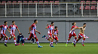6th November 2019; Vozdovac Stadium, Belgrade, Serbia; UEFA Under 19 UEFA Youth league football, FK Crvena Zvezda under 19s versus Tottenham Hotspur under 19s; Petar Piplica of FK Crvena Zvezda celebrates after scoring his goal for 2-0 with his team mates