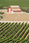 Red barn in the vineyards of the Salinas Valley.