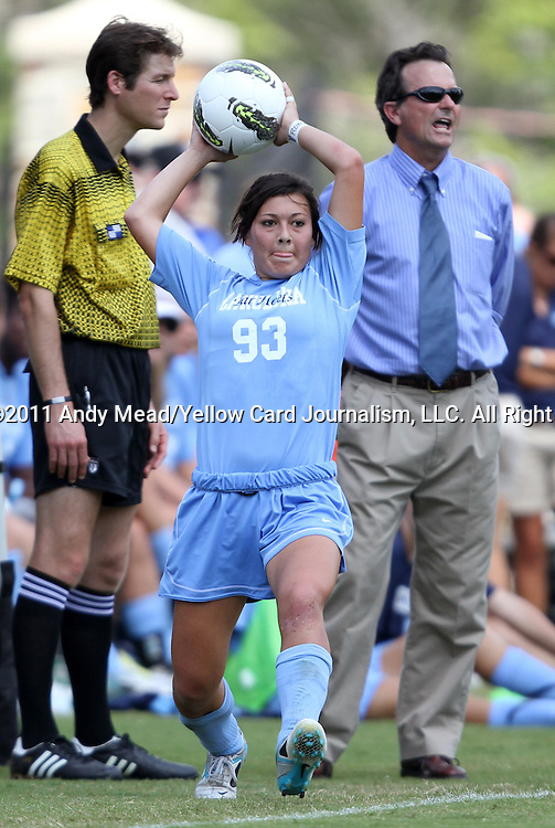 11 September 2011: North Carolina's Brooke Elby (93) and head coach Anson Dorrance (behind). The Texas A&M Aggies defeated the University of North Carolina Tar Heels 4-3 in overtime at Koskinen Stadium in Durham, North Carolina in an NCAA Division I Women's Soccer game.